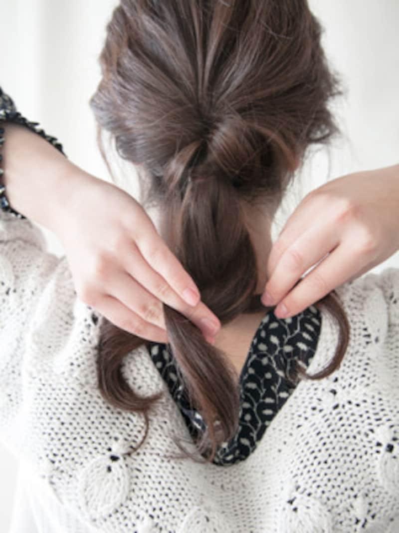 毛先まで三つ編みをする
