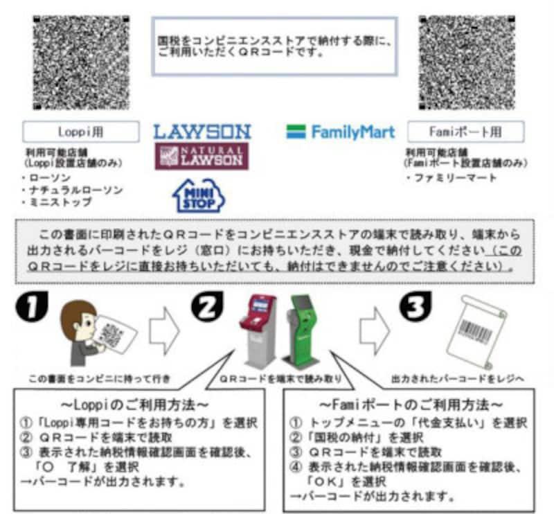 納付用QRコードは2種類あります (出典:国税庁)