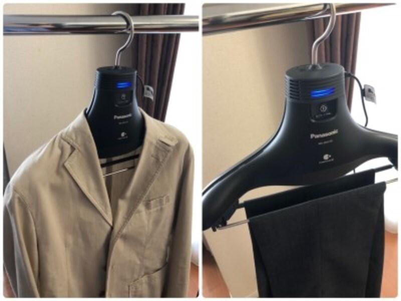 ジャケットはもちろん、ボトムス用に吊り下げバーがついています。スカートも内側の紐を吊り下げバーにひっかけて使用可能