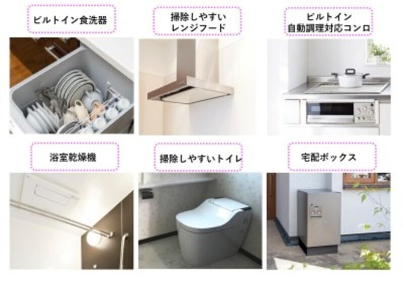 家事の負担を軽減する設備の例(イメージ)