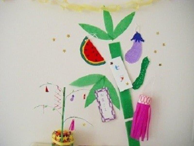 ちぎり絵やこよりでカラフル笹飾りを七夕飾り工作・製作で手作り