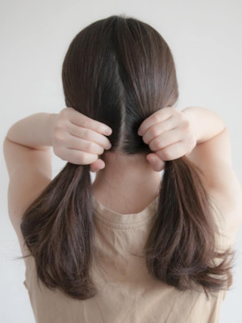 海やプールの髪型:フィッシュボーンの作り方 きっちり分け取らなくて良いです
