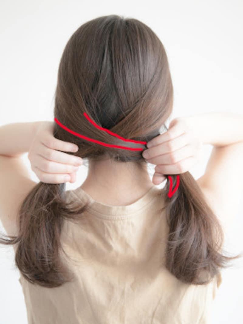 海やプールの髪型:フィッシュボーンの作り方