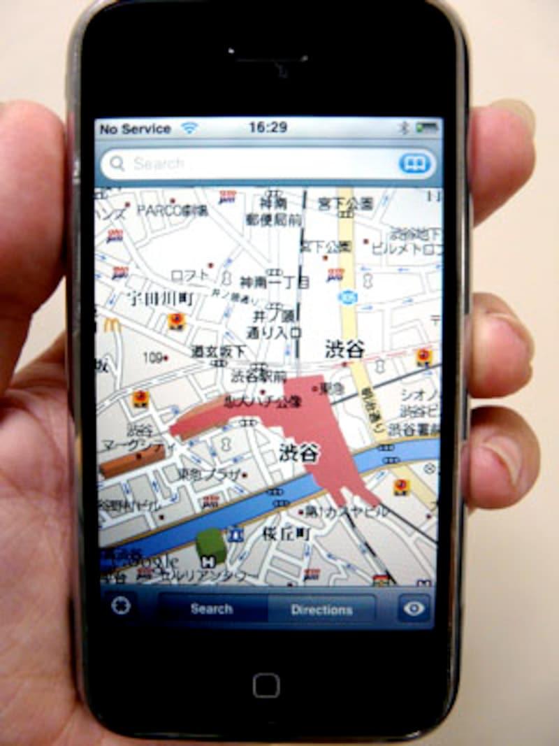 地図はグーグルマップを見ることができる。そのため、初代iPhoneでも日本語で閲覧できる