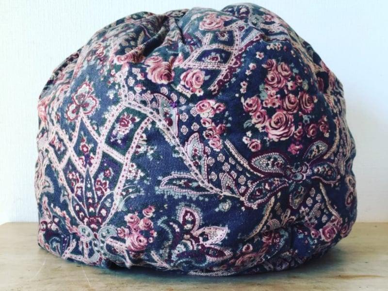 私の鍋帽子は、母の手作りです