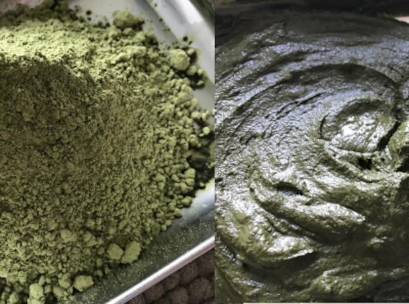 左が袋を開封した状態のままの粉、それに50℃のお湯を加え、右のようなペーストにします。柔らかい方が塗布しやすい。。