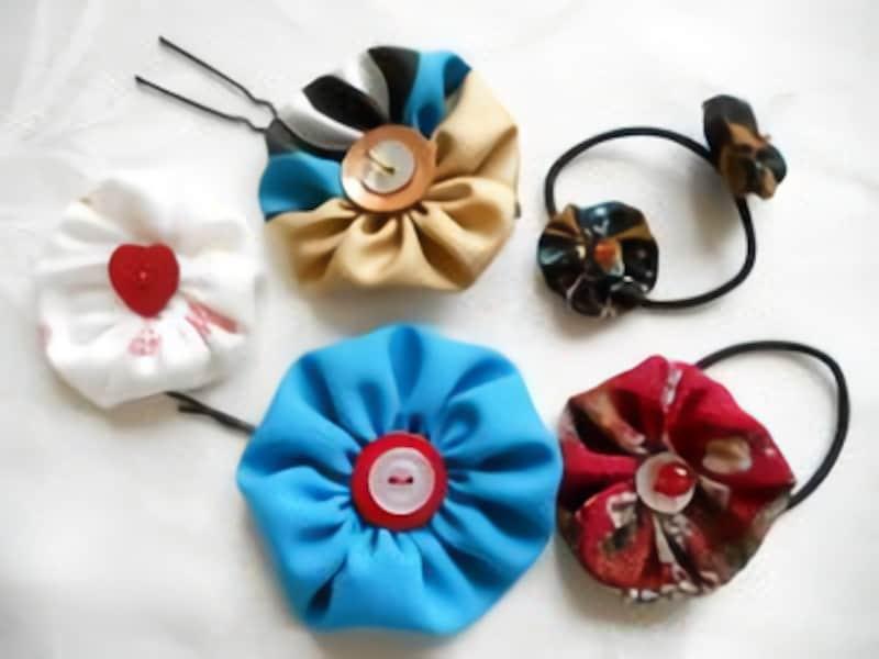 女の子の夏休み工作・自由研究工作布とボタンのヘアアクセサリー