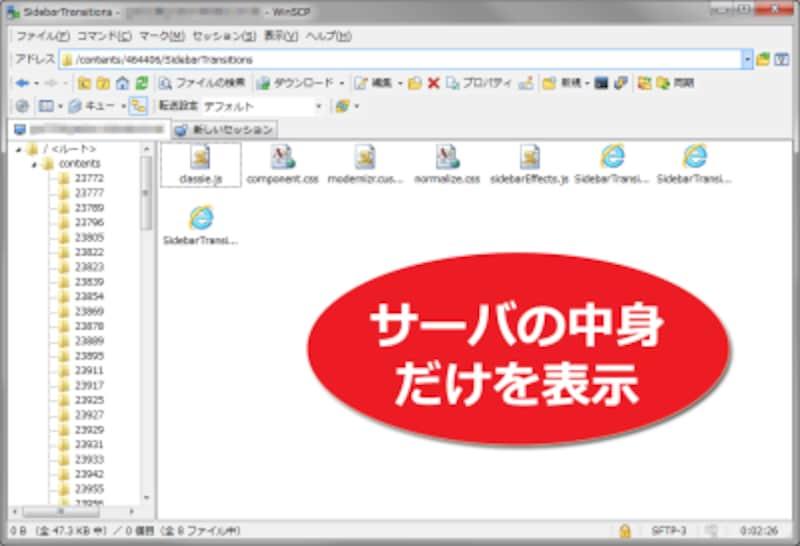 サーバの中身だけを表示した例(WinSCPでの表示例)
