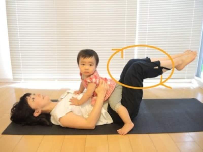 2.脚を伸ばすのが辛い方は、膝を曲げたまま、膝で円を描くつもりで動く/産後ダイエットお腹に乗せてコ―クスクリュー