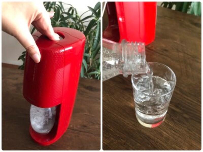 1回押すたびに、シュポーっと炭酸が注入されます。2~3回押せば、しっかり炭酸が感じられる強度に