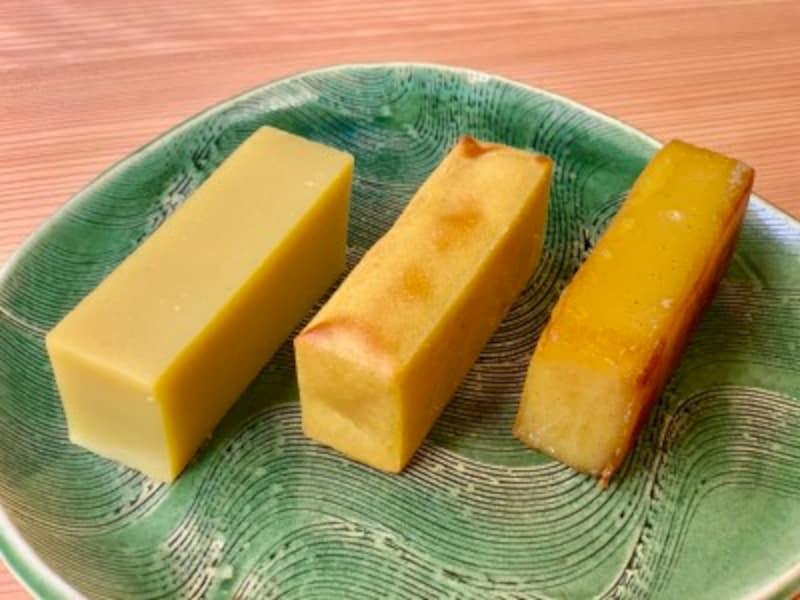 「芋ようかん」を手軽にアレンジ! 左:そのまま/中央:トースターで焼いたもの/右:バター焼き