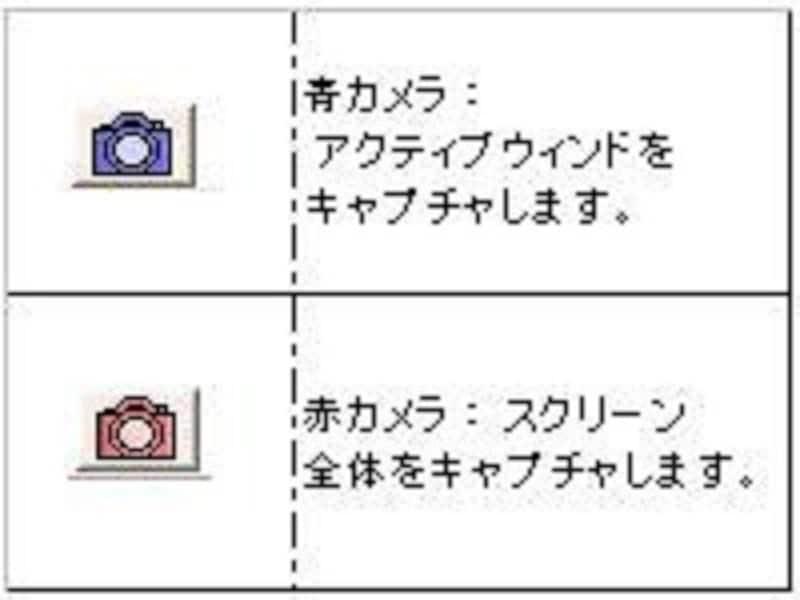 赤と青のカメラボタンを使い分けて画面をキャプチャしよう