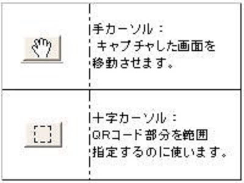 QRコードのある位置まで画像を移動させるには手カーソルを、QRコード部分を範囲指定するには十字カーソルを選択する