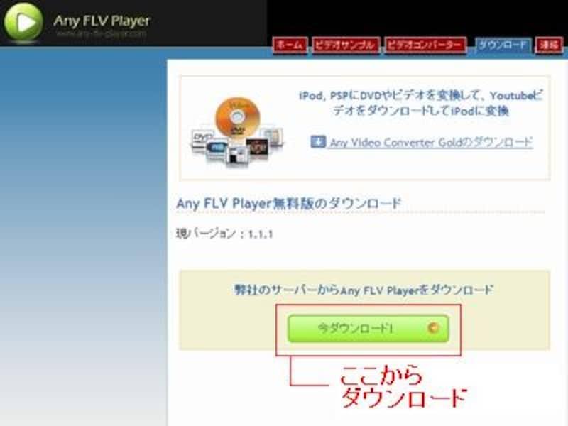 「Any FLV Player」ダウンロード
