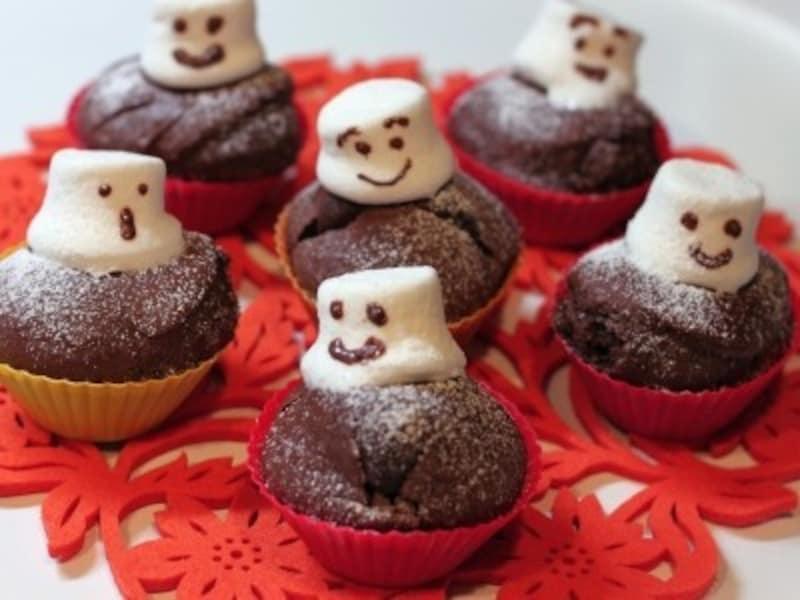 ハロウィンお菓子の手作りアイディア1.マシュマロおばけのチョコマフィン