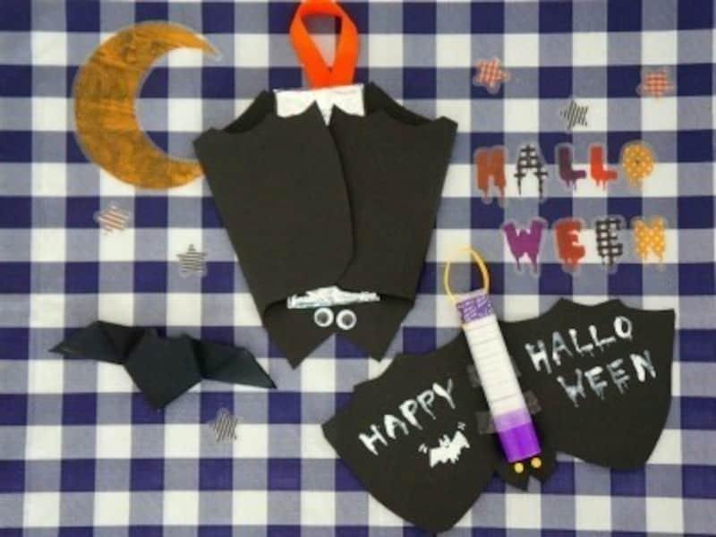 ハロウィンお菓子の手作りアイディア8.市販の長細いお菓子で作るコウモリ