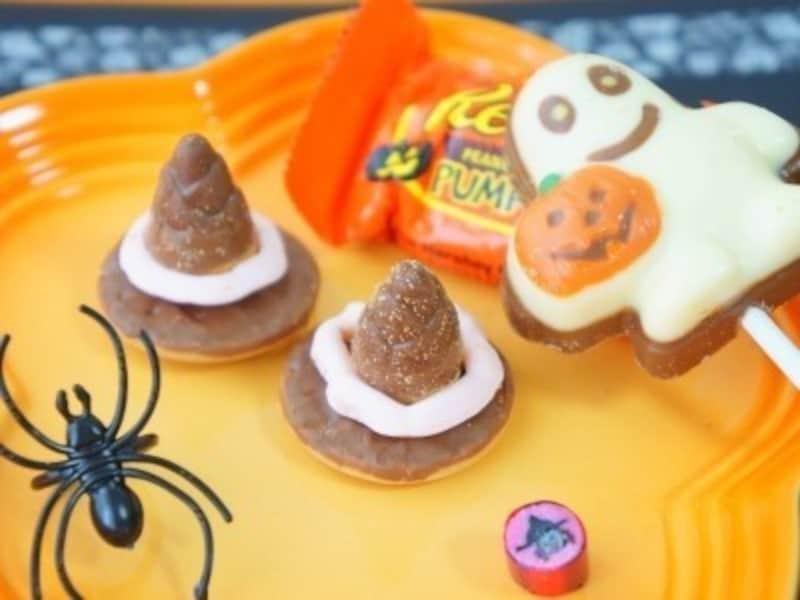 ハロウィンお菓子の手作りアイディア16.市販の定番お菓子を使った「魔女の帽子」