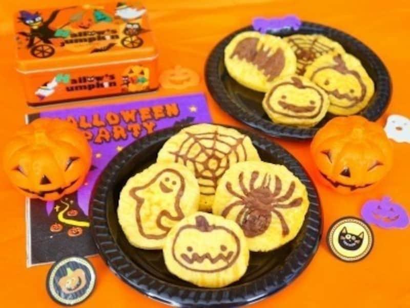 ハロウィンお菓子の手作りアイディア18.かぼちゃのパンケーキアート