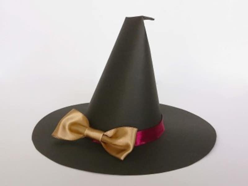 ハロウィン帽子魔女帽子かぼちゃ帽子の作り方・手作り…大きなリボンがキュートの魔女の帽子が完成
