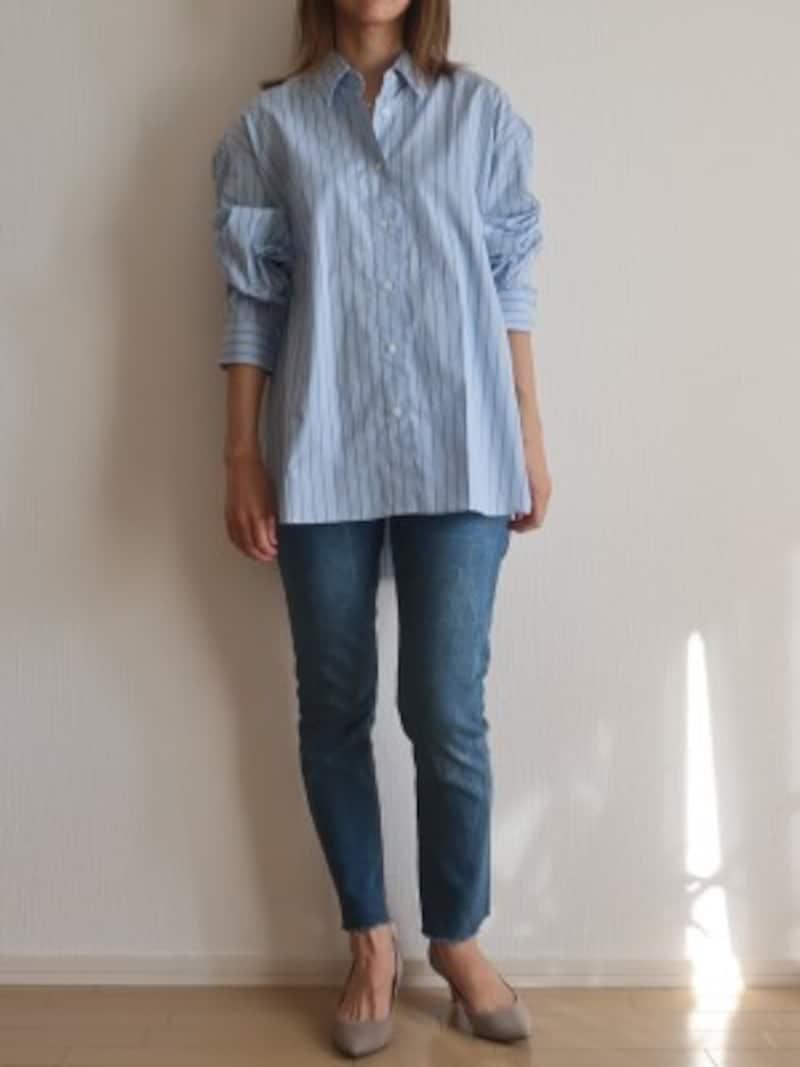 ユニクロユーコットンオーバーサイズストライプシャツ 2990円(税抜)