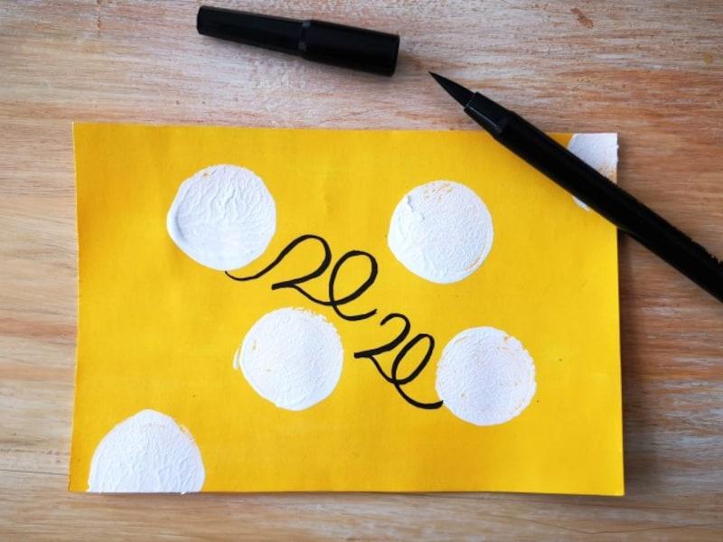 ネズミの年賀状2020年手作りねずみの絵・ねずみのデザイン作り方B2