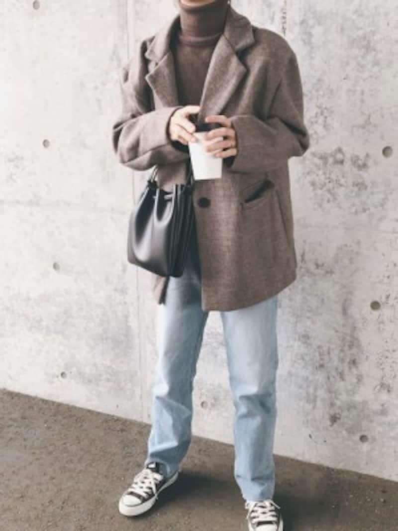 無印良品のニットと同系色のジャケットを合わせて 出典:WEAR