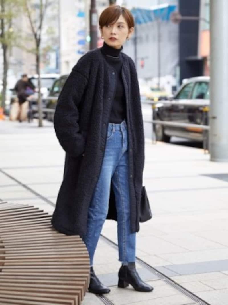 「ボアフリースノーカラーコート」は黒ならよりきれいめな印象に 出典:WEAR