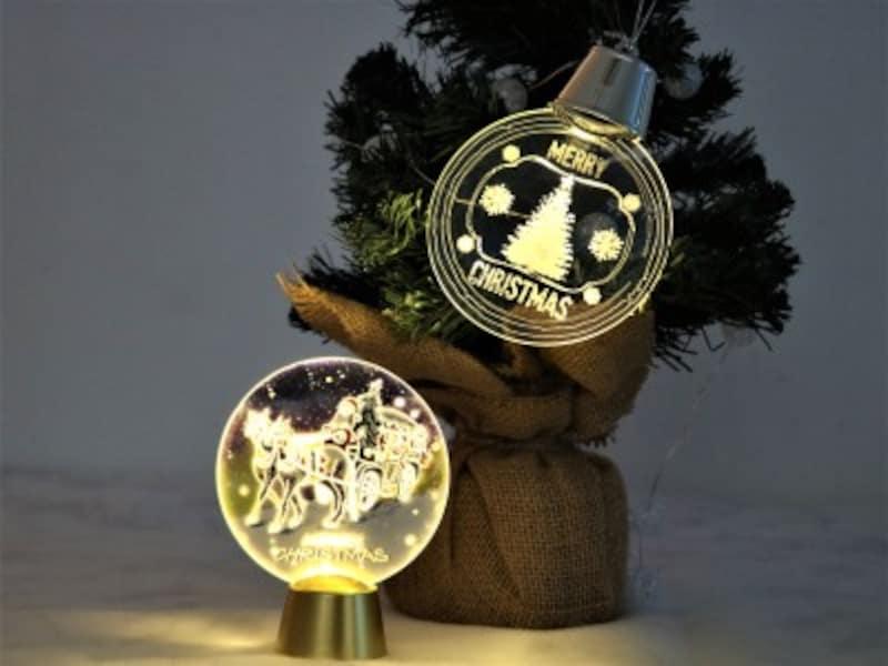 ダイソー・LEDクリスマスライト光の点滅で絵が動いているように見えます。