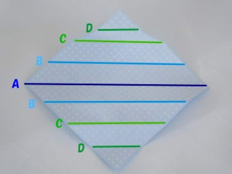 広げると折り目が7本ついています。