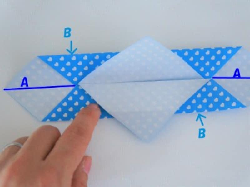 反対側も同じように折ります。