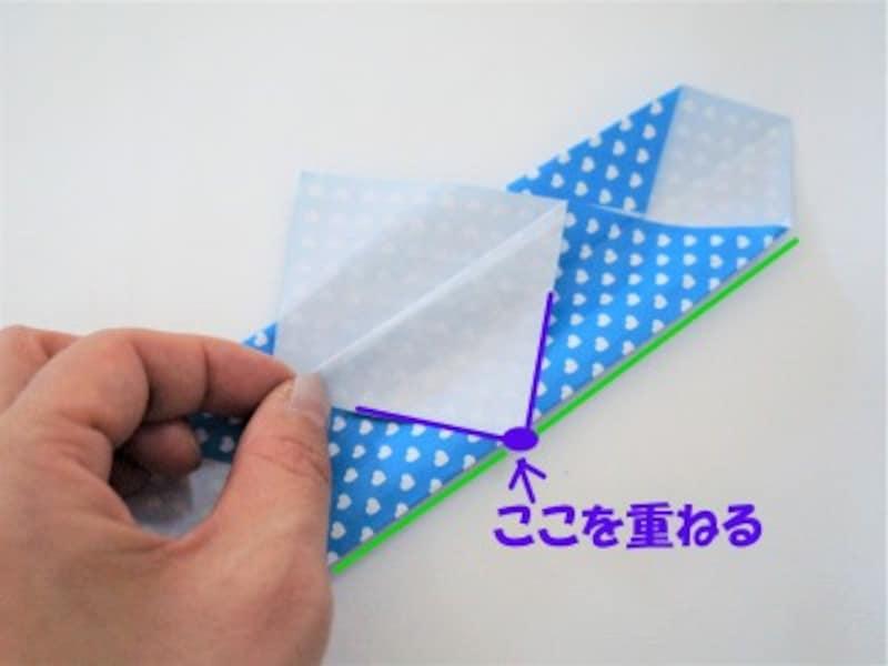 重ねた三角の頂角と底辺が合うように折ります。