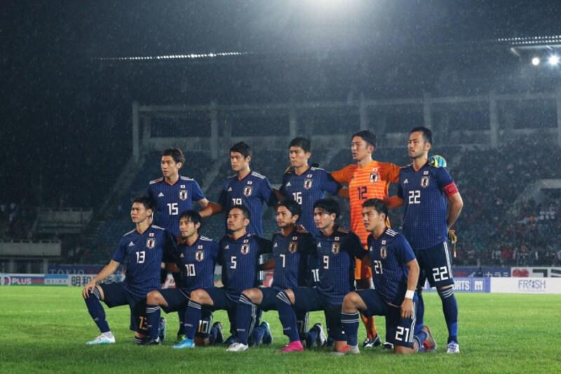 2022FIFAW杯カタール大会アジア2次予選の初戦、ミャンマーとの対戦に臨んだ日本代表(写真:新井賢一/アフロ)