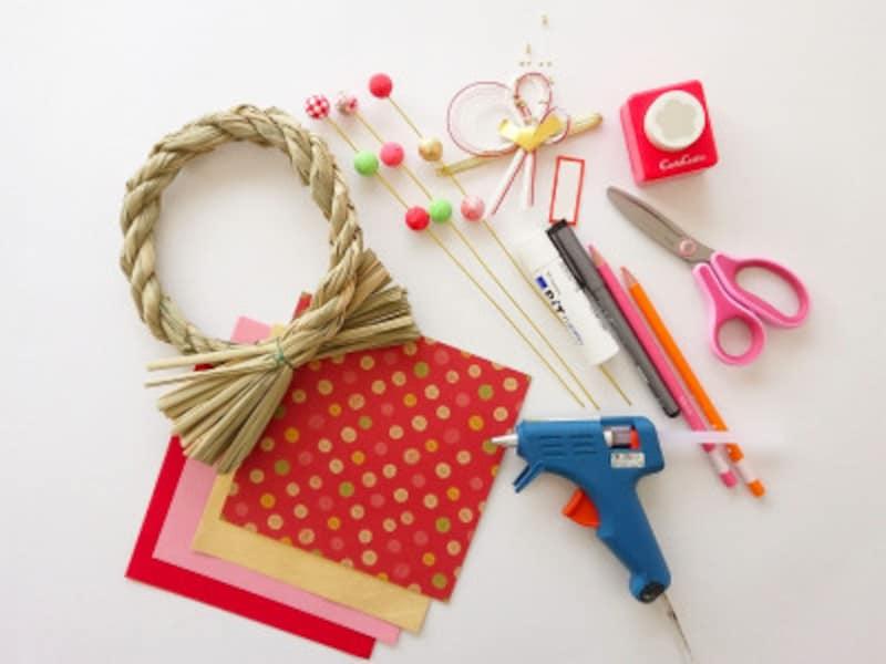 折り紙だるまがついたしめ飾りの材料