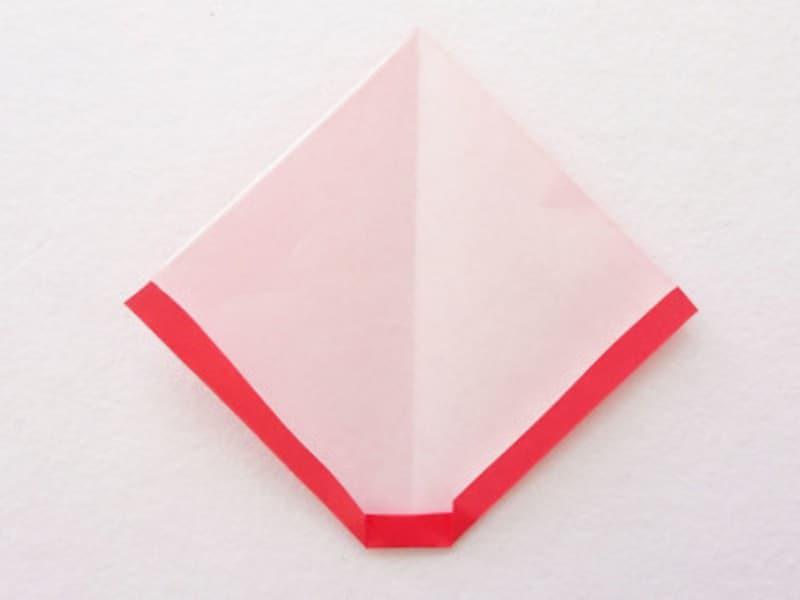 お正月飾り手作り 折り紙だるましめ飾り作り方 両端を折る