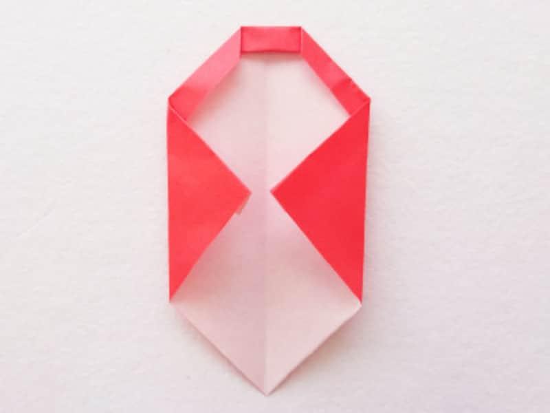 お正月飾り手作り 折り紙だるましめ飾り作り方 回転させて両端を折る
