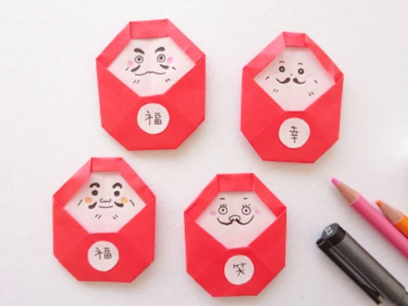 お正月飾り手作り 折り紙だるましめ飾り作り方 色んな表情の折り紙だるま