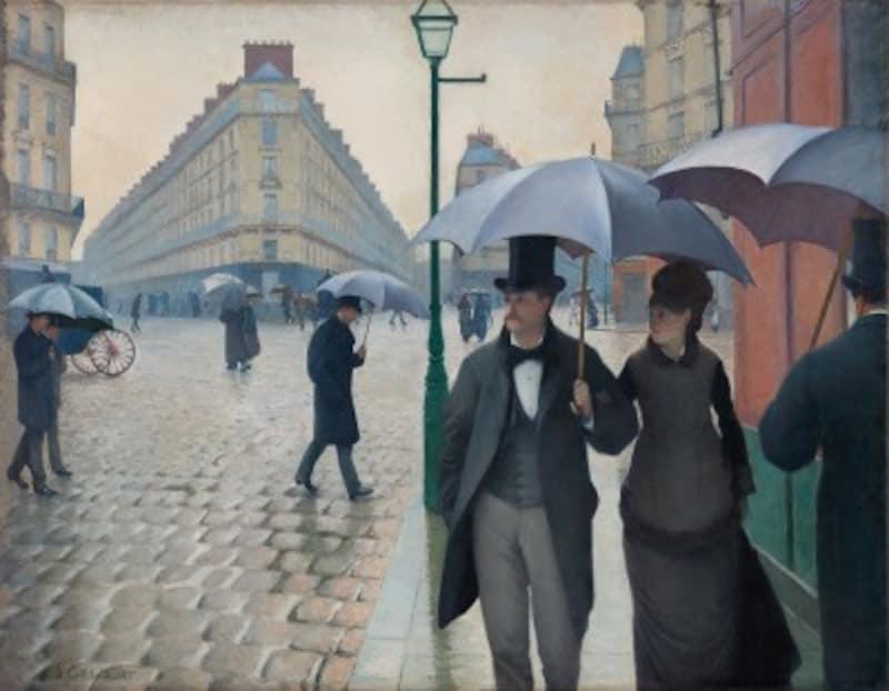 ギュスターヴ・カイユボット『パリの通り、雨の日』