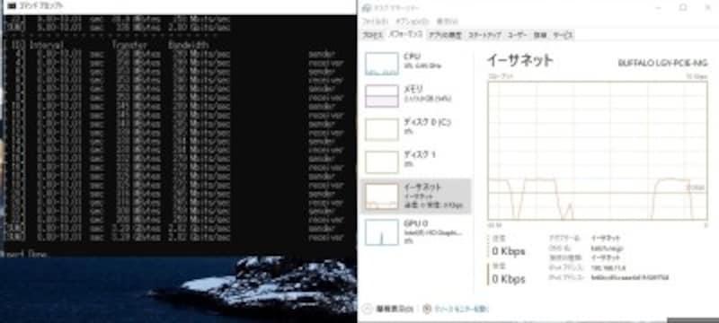 タスクマネージャのグラフでも約3Gbpsが安定して出ている。