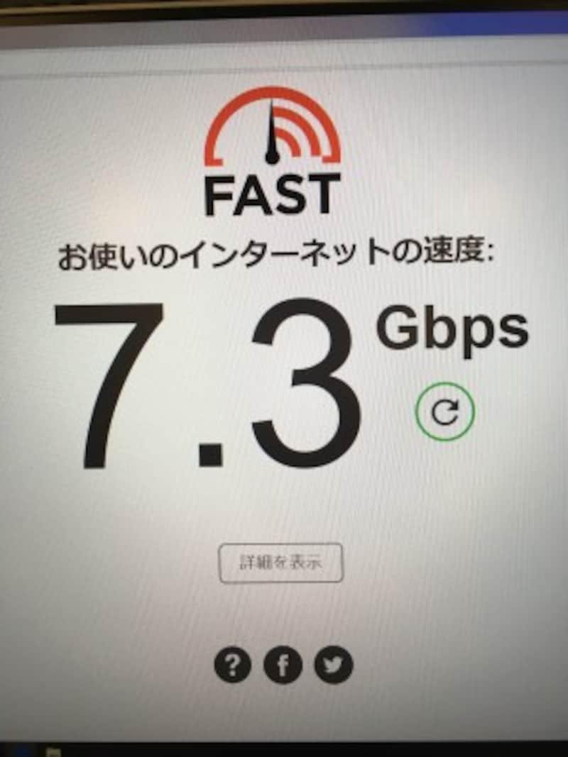 10G回線のワイヤースピード(有線スピード)