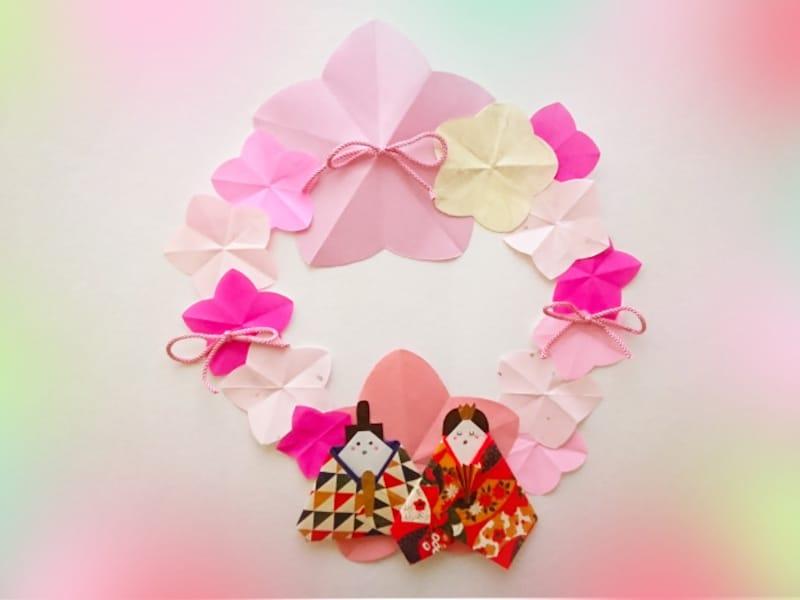 雛祭り折り紙リースお雛様・お内裏様・桃の花の折り方