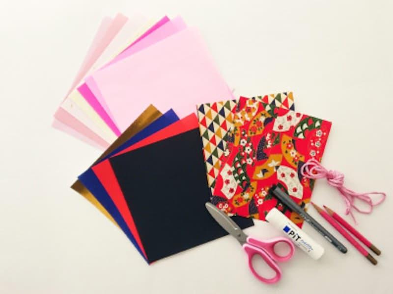 ひな祭り折り紙リース材料