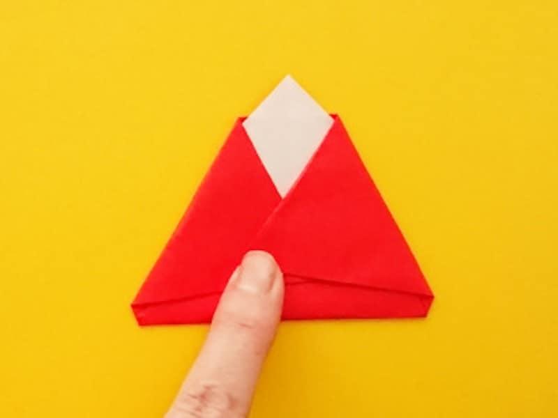 折り紙ひな祭りリースお雛様 両端を中へと折る