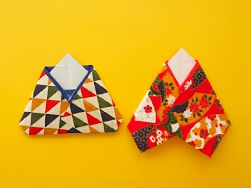 折り紙ひな祭りリースお雛様・お内裏様 和紙はお雛様の方は長めにしお内裏様の方は後ろにたたんで貼る