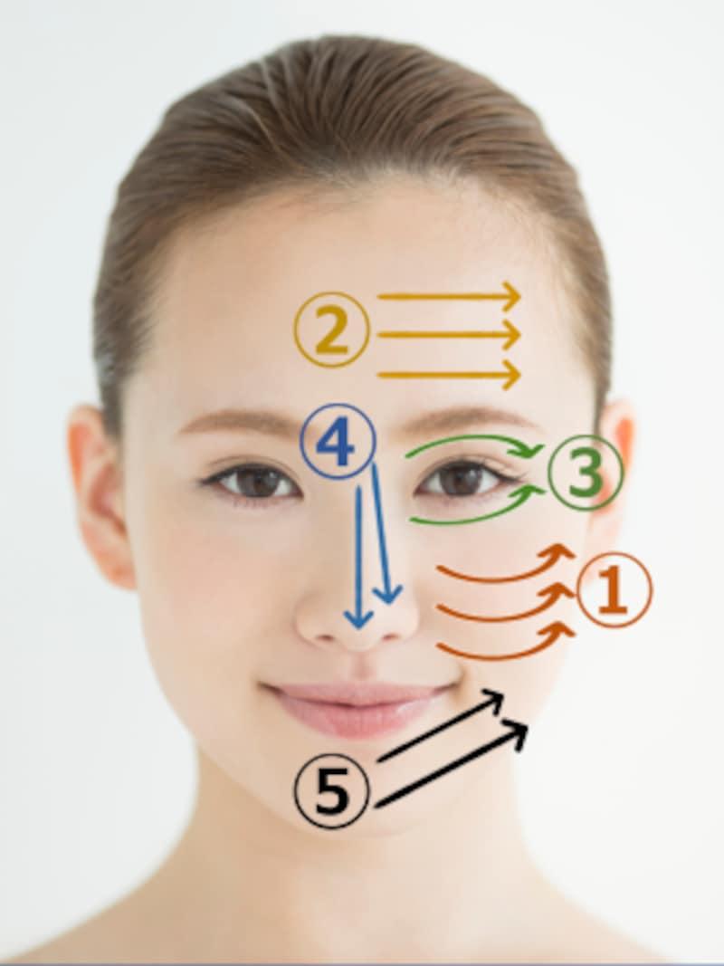 広い部分から顔の中心から外側に向かってなじませます