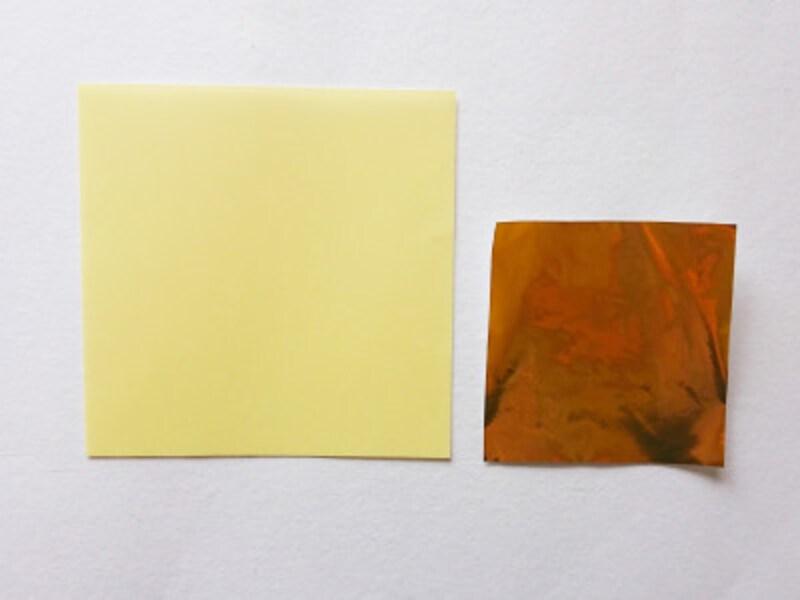 こどもの日折り紙リース 薄黄色は竿、金色は矢車用