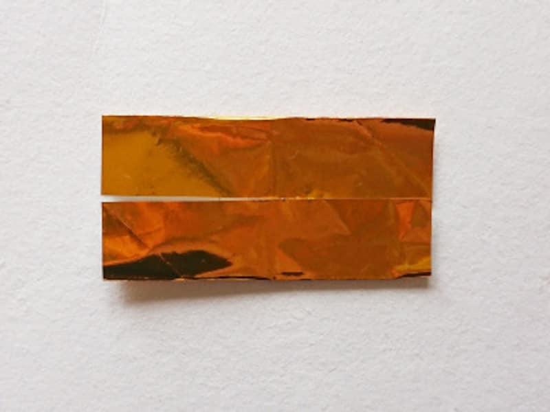 こどもの日折り紙リース 真ん中の線にあわせて折る