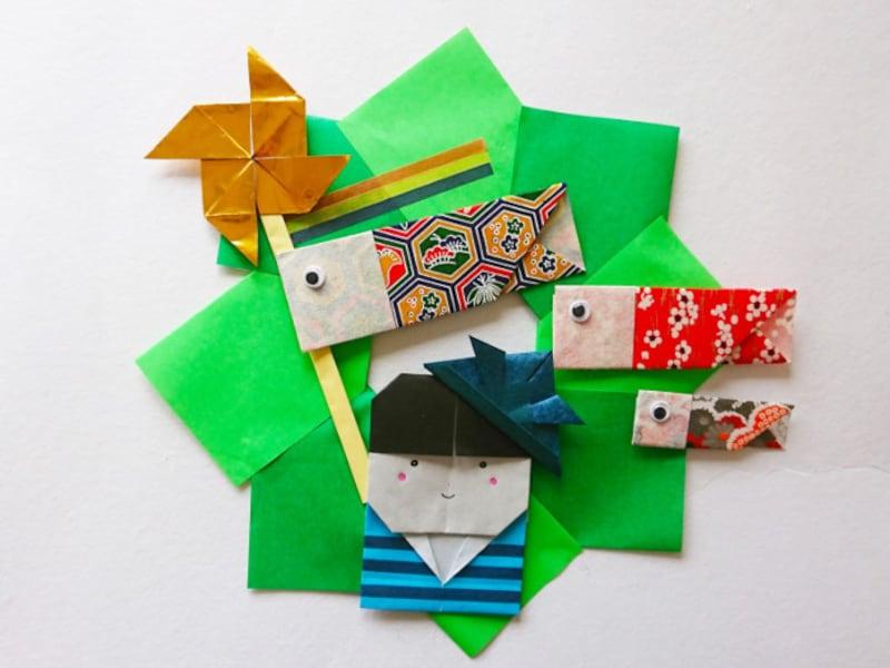 こどもの日折り紙リース 鯉のぼり・兜・風車・矢車