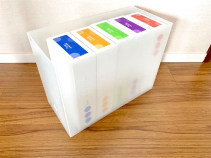 ファイルボックス(幅15cm)に5つのボックスティッシュが収納可能