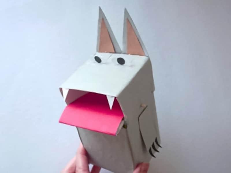目をつけるとオオカミのしかけ貯金箱の完成
