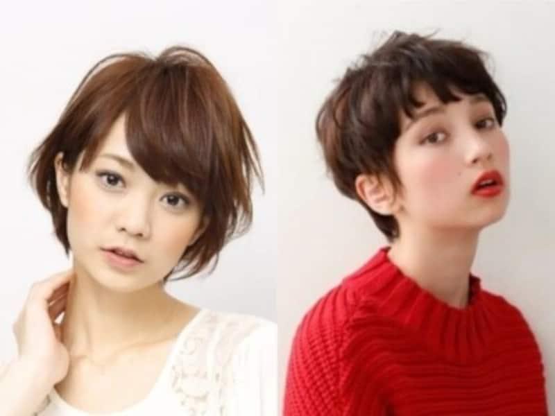 40代&50代女性に人気の丸顔でもシャープに見えるショートヘア